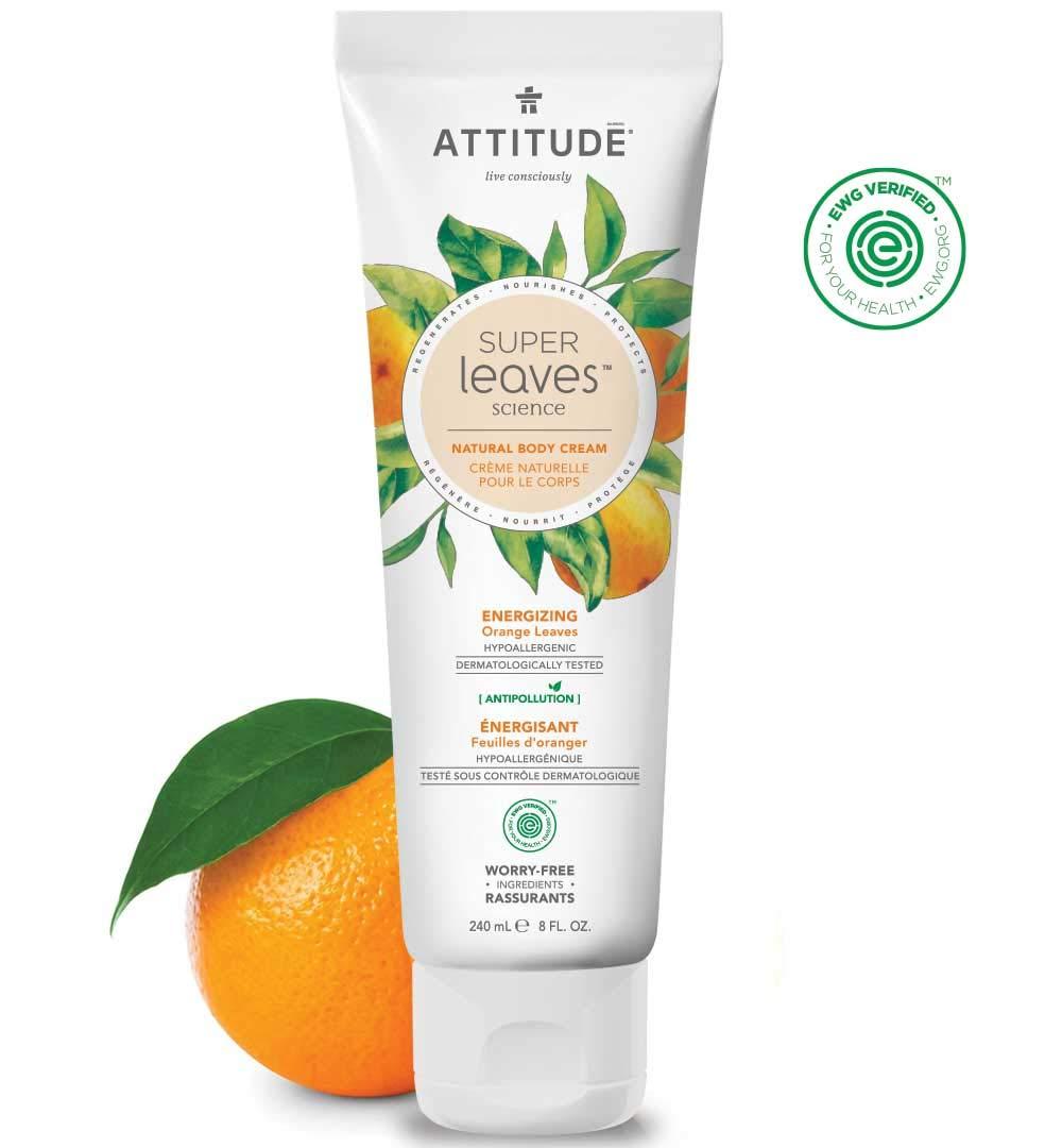 ATTITUDE Super Leaves, Hypoallergenic Energizing Body Cream, Orange Leaves, 8 Fluid Ounce