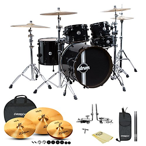 GO-DPS JF-REFLEX-BLK/BLK-22-5PC-KIT-3 ddrum Reflex Standard Player 5-Piece Drum Set Black Shell Pack, Zildjian Cymbals, Cloth, Cymbal Bag, Drumstick Bag and Drumsticks