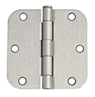 Design House 202481 6-Hole 5/8-Inch Radius Door Hinge, 3.5-Inch by 3.5-Inch, Satin Nickel Finish