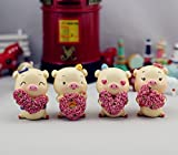 FinerMe Fine Work 4 Pcs Miniature LOVE Pig Resin Craftwork Decorations Dollhouse Creative Home Crafts Toy Christmas Party Birthday Gift Desk Decorations Valentine's Day Gift