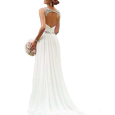 Dannifore Chiffon Beach Wedding Dresses Open Back Bridal Gowns Long ...