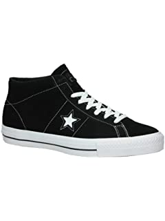 9fb92a98873c Converse One Star Pro Suede Mid (Black White Black) Men s Skateboard Shoes