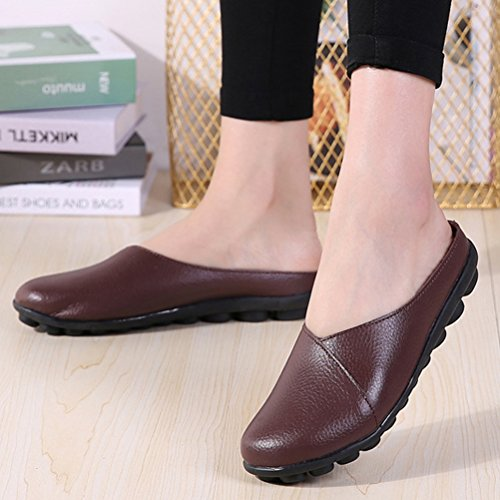 Coffee Gommino Slipper Walking Flat Mordenmiss Comfy Women's Clog Moccasin 8qvxH0