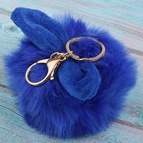 NATFUR Small Rabbit Key Chain Bag Chain Pendant Rabbit Plush Ball Bag Key Ring Elegant Key-Chain for Men Perfect for Girls for Gift Pretty Beautiful | Color - Sapphire (Designer Orlando Furniture)