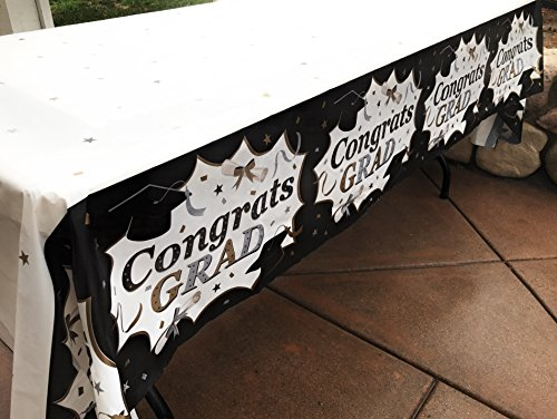 Graduation Table Decorations Ideas (Oojami Pack of 3 Classic Graduation Tablecover)