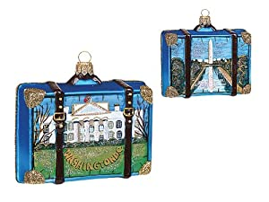 Washington DC Travel Suitcase Polish Glass Christmas Ornament Tree Decoration