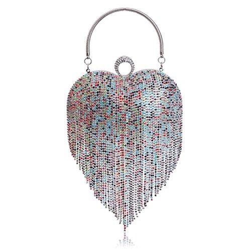 la lujo de de del LiShihuan bolso Multicolor la borla mujeres del embrague corazn 1 monedero del tarde Bolso de de de del las embrague PqPrw5I7