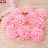 Susada 10Pcs Artificial Fake Carnation Flower For Bridal Bridesmaid Wedding Party Decor (Pink)