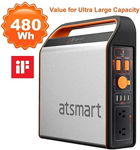 atsmart P500 2019 Newest Portable Power Station Solar Generator, 460W Emergency Backup Lithium Battery, 11LBS Camping Power Supply with 9-Outlets, Type-C Quick Charge Port for Outdoors Travel
