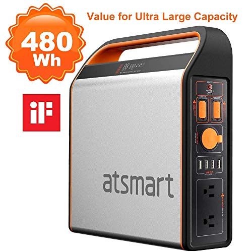 atsmart P500 Portable Power Station Pure Sine Wave Solar Generator with 9-Outlets, 460Wh/125000mAh Emergency Backup Lithium Battery, Type-C Quick Charge Port for Outdoors Camping Power Supply