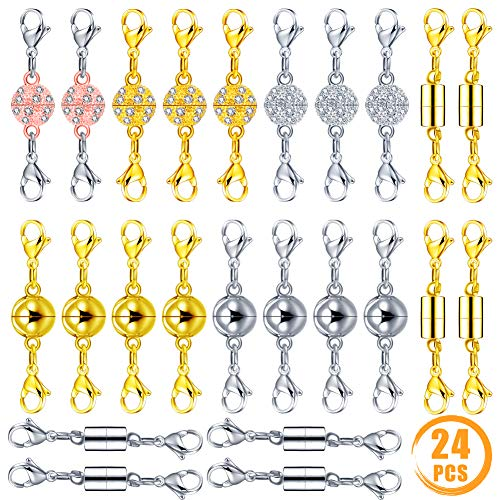Quacoww 24 Pcs Magnetic Lobster Clasps for Jewelry Necklace Bracelet Spherical Cylindrical Inlaid Rhinestone Spherical ()