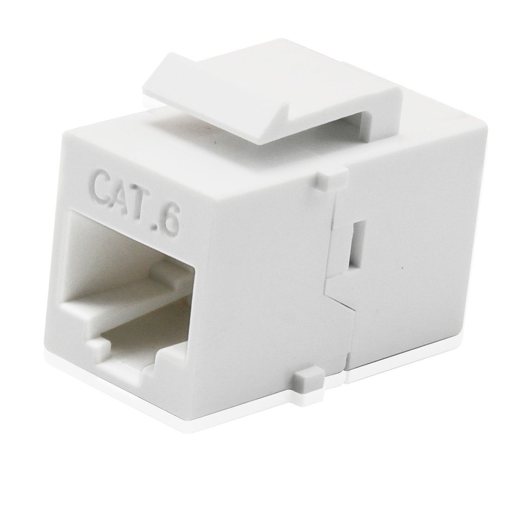 AllSmartLife 10-Pack Cat6 RJ45 Double Female Keystone Jack Inline Coupler - White