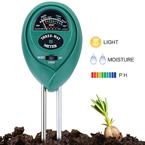 Soil pH Meter 3-IN-1 Soil Test Kit for pH Acidity, Light & Moisture, Soil pH Test Kit for Yard, Garden, Farm, Lawn Testing, Bonsai Soil Moisture Tester (No Battery Needed) by Gobetter