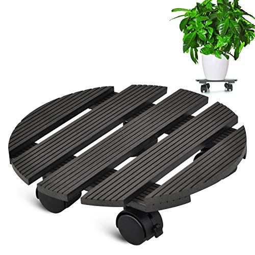 (CERBIOR Plant Caddy Heavy Duty Plant Caddy with Wheels Indoor/Outdoor Holds Up 12 Inches and 80 Lbs Strong and Sturdy Design (Round, Charcoal))
