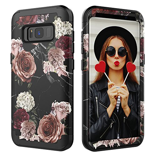 Galaxy S8 Plus Case,Digital Hutty 3 in 1 Shockproof Heavy Duty Full-body Protective Cover for Samsung Galaxy S8 Plus Flower (Marble Flower) by Digital Hutty