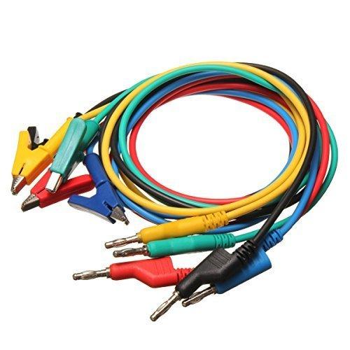 (MWAY 4mm 5PC Colorful Silicone Banana Plug to Crocodile Alligator Clip Test Probe Lead Wire Cable Multimeter Probe Test Lead 1M)
