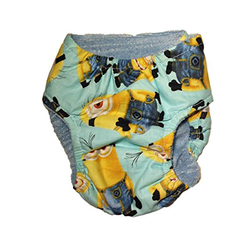 best Cat Diapers - Made in USA - Washable Cat Diaper made from Despicable Me Minion on Blue Teal fabric for Piddling, Spraying or Incontinent Cats