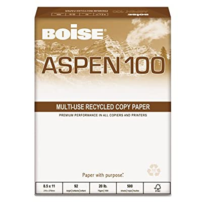 BOISE 54922 ASPEN 100% Recycled Office Paper, 92 Bright, 20lb, 8-1/2 x 11, White, 5000/CT