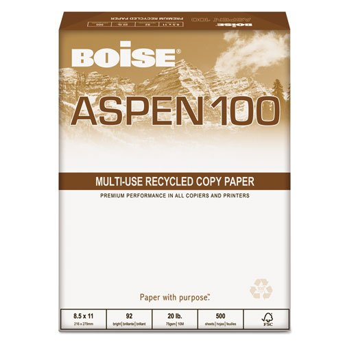 - Boise - ASPEN 100 Office Paper, 92 Brightness, 20lb, 8-1/2 x 14, White, 5000/Carton 054924 (DMi CT