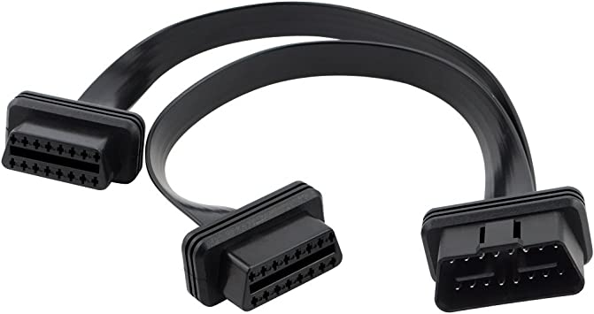 iKKEGOL Ultra Low Profile Right//Left Angle 16 Pin OBD2 OBDII Splitter Extension Cable Male to Dual Female Y Cable 30cm//12 Right//Left Port