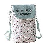 lg 2 mini accesories - YaJaMa Canvas Flower Women Shoulder Crossbody Bag Cellphone Pouch Purse Wallet (Green)
