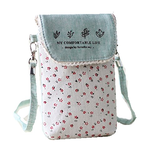 Women Flower Shoulder Purse Cellphone Bag Wallet Pouch Green Canvas Crossbody YaJaMa fEq6pEw