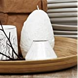 Lene Bjerre Large Luxury Easter Candle, white, egg shaped, cellophane wrapped with raffia bow ideal as a gift. 12cm x 7.5cm 20 hours burn time by Lene Bjerre