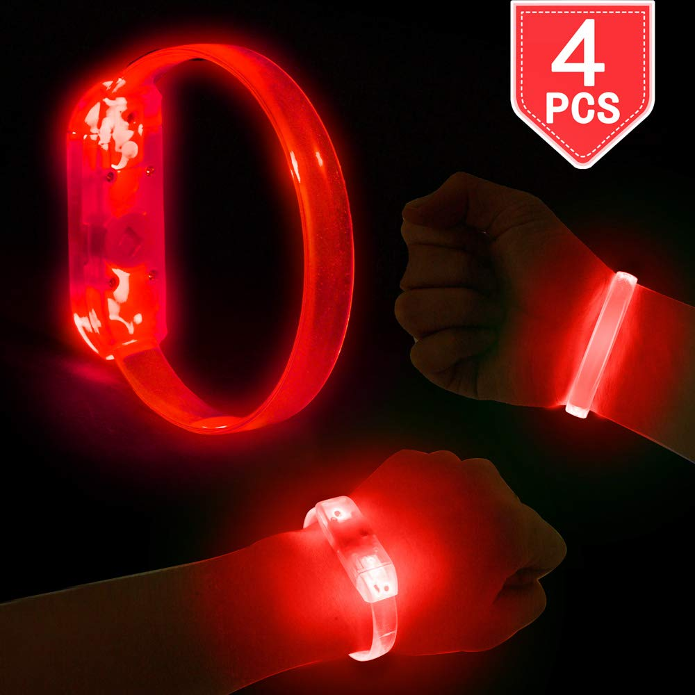 PROLOSO LED Bracelets Red Light Up Wristbands 4 Pieces for Concerts, Festivals, Sports, Parties, Night Events by PROLOSO