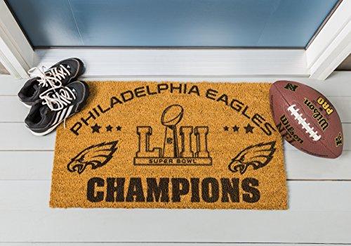Team Sports America Philadelphia Eagles Super Bowl LII Champions Natural Coir Outdoor Safe Door Mat, 16 x 28 inches