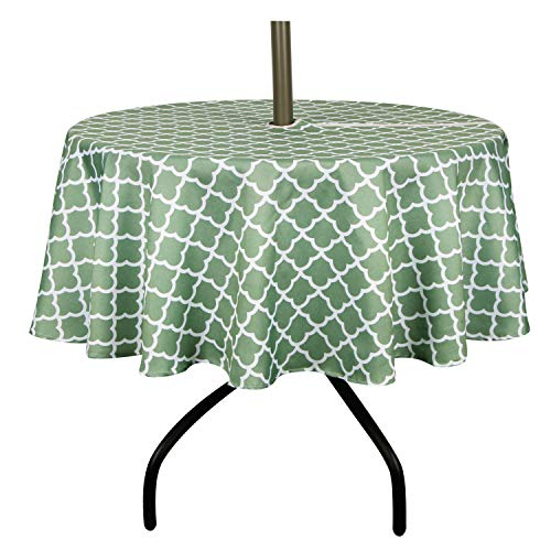 ColorBird Elegant Trellis Outdoor Tablecloth Waterproof Spillproof Polyester Fabric Table Cover with Zipper Umbrella Hole for Patio Garden Tabletop Decor, 60