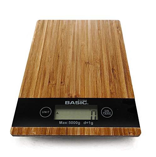 Basic Home Digitale Küchenwaage Bambus Digitalwaage Haushaltswaage Briefwaage bis 5kg