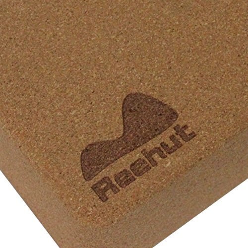 "Reehut (2 PC) Natural Cork Yoga Blocks, 9""x 6""x 4"" for Yoga or Pilates Support and Balance"