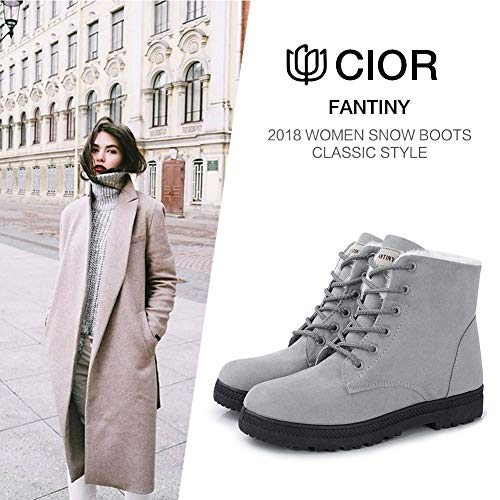 2018 Waterproof PU Grey Shoes Warm Suede Winter Boots Boots Lace Snow up Women's CIOR qzvTxwpF