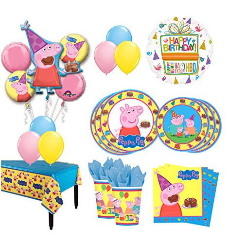 The Ultimate 8 Guest 53pc Peppa Pig Birthday Party Supplies and Balloon Decoration Kit -