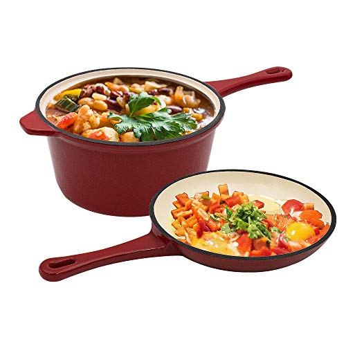AIDEA Enameled Cast-Iron Combo Multi-Cooker - 2-Quart 2-in-1 Pot and Pan Set, Ceramic Cast Iron Saucepan and Shallow Skillet Lid Set Sauce Pot & Nonstick Frying Pan, Bean Pot,Small Dutch Oven