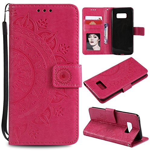 Galaxy S8 Floral Wallet Case,Galaxy S8 Strap Flip Case,Leecase Embossed Totem Flower Design Pu Leather Bookstyle Stand Flip Case for Samsung Galaxy S8-Red by Leecase