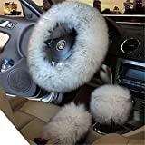 3Pcs Winter Women Car Steering Wheel Cover Charm Warm Long Wool Plush Car Handbrake Cover Gear Shift Cover Set (white gray)