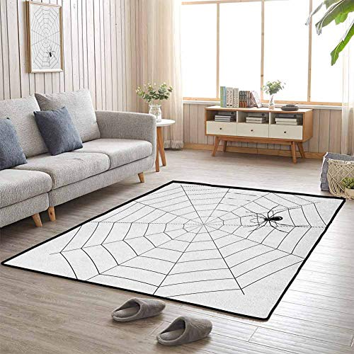 Ikea Halloween Movie (Spider Web Kids Area Rug 6'x9' All Season General Toxic Poisonous Insect Thread Crawly Malicious Bug Halloween Character Design Black)