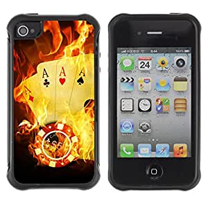 Hybrid Anti-Shock Defend Case for Apple iPhone 4 4S / Burning Ace Cards