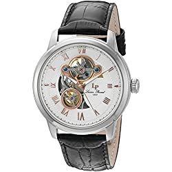 Lucien Piccard Men's 'Optima' Stainless Steel and Leather Automatic Watch, Color:Black (Model: LP-12524-02-RA)