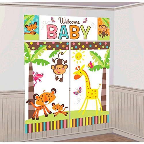 Farm Animal Fisher-Price Baby ABC Unisex, Boy or Girl Baby Shower Party Scene Setter Wall Decorations Kit - Kids Birthday and Party Supplies -