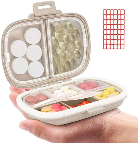 Daily Pill Organizer, 8 Compartments Portable Pill Case, Pill Box to Hold Vitamins, Cod Liver Oil, Supplements and Medication (3-Khaki)