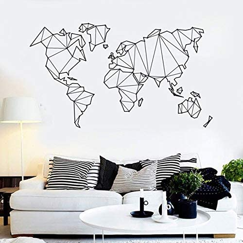 Ajcwhml Pegatinas de Vinilo para Pared muraux Word Map Outlines Removeable Tatuajes de Pared Dormitorio Sala de Estar Decoración del hogar Cartel de Arte 57x98 cm: Amazon.es: Hogar