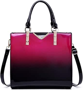 Miss Lulu Women Handbags High Quality Faux Patent Leather Top Handle Tote Bags