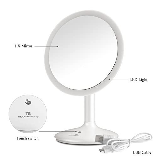 TOUCHBeauty Personal Face Makeup Mirror 90 Degree Swivel Touch Screen Dimmable LED Lighted Vanity Mirror USB Rechargeable Cordless Mirror TB-1677