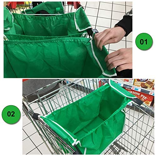 2Pack Reusable Shopping Trolley Bags Grab and Go Bag Collapsible Grocery Tote Bags with Handles, Clip on Shopping Cart As Seen On TV