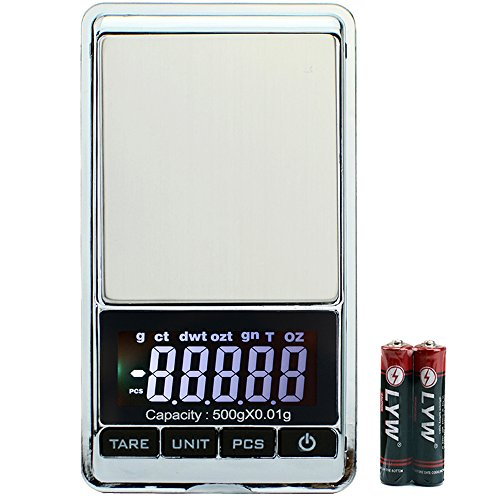 MVZAWINO Digital Pocket Scale, 0.001oz/0.01g 500g Precision Portable Jewelry Scale, Mini Electronic Gram Weight Scales, Tare, Auto off, Stainless Steel, White Backlit Display(Battery Included) (Scale Ct Weight)