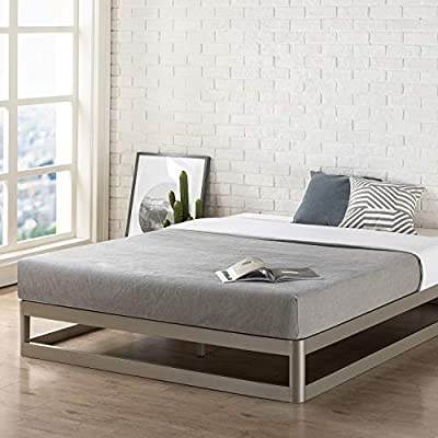 Mellow 9 Inch Metal Platform Bed Frame W/Heavy Duty Steel Slat Mattress Foundation (No Box Spring needed) Grey - Twin platform bed frame with steel slat mattress foundation; no box Spring needed Noise free, heavy duty Steel construction for better stability and durability Modern low profile design with rounded Corners for extra safety in getting out of the bed - bedroom-furniture, bedroom, bed-frames - 51rELxGd2dL. SS400  -