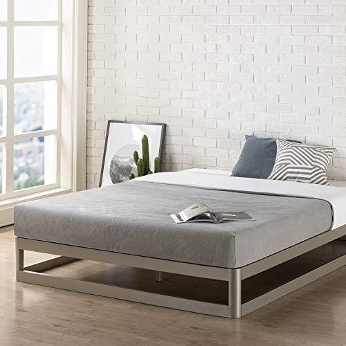 "Mellow Full 9"" Metal Platform Bed Frame w/Heavy Duty Steel Slat Mattress Foundation (No Box Spring Needed), Grey"