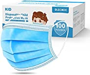 BLScode Disposable Kids Face Protective Masks, 3-Layer Facial Cover Masks with Elastic Ear Loops